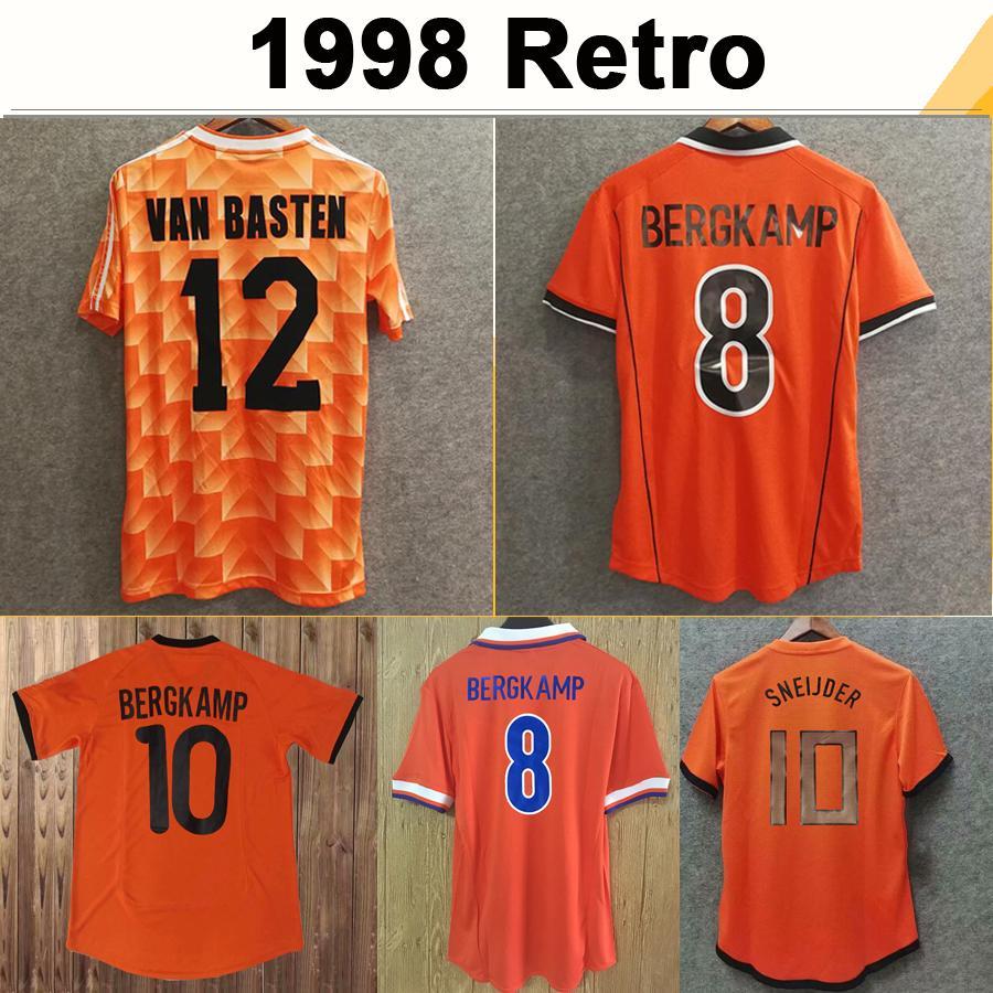 1988 #12 VAN BASTEN #10 GULLIT #17 RIJKAARD Mens Soccer Jerseys 1998 Netherlands #8 BERGKAMP Football Shirts 1995 1991 1988 BERGKAMP Retro