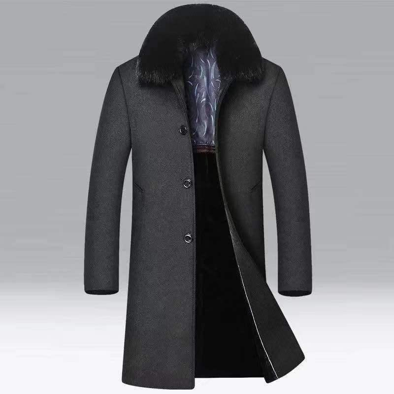 Мужская шерстяная смесь разборчива зимняя куртка Высококачественное пальто Повседневная тонкая Средняя длина Меховой воротник