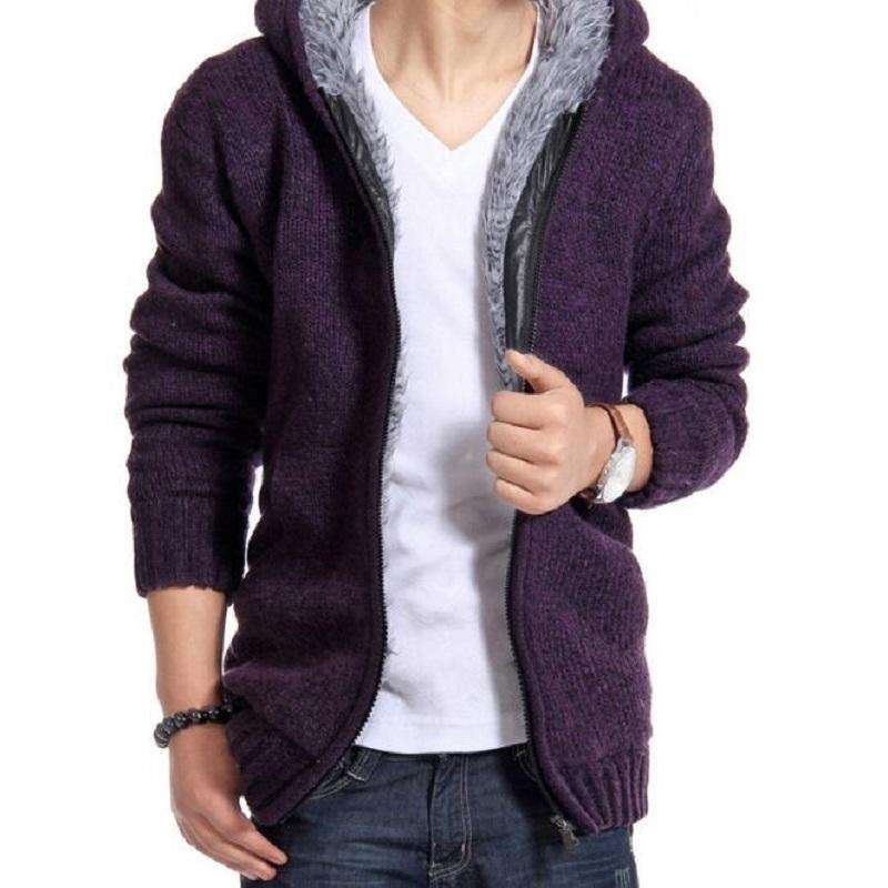 Sweatercoat Hommes Nouveau Casual Cardigans chauds Hommes Outwear hiver épais à capuche chaude chaude veste de la mode homme tricot de la mode 201105
