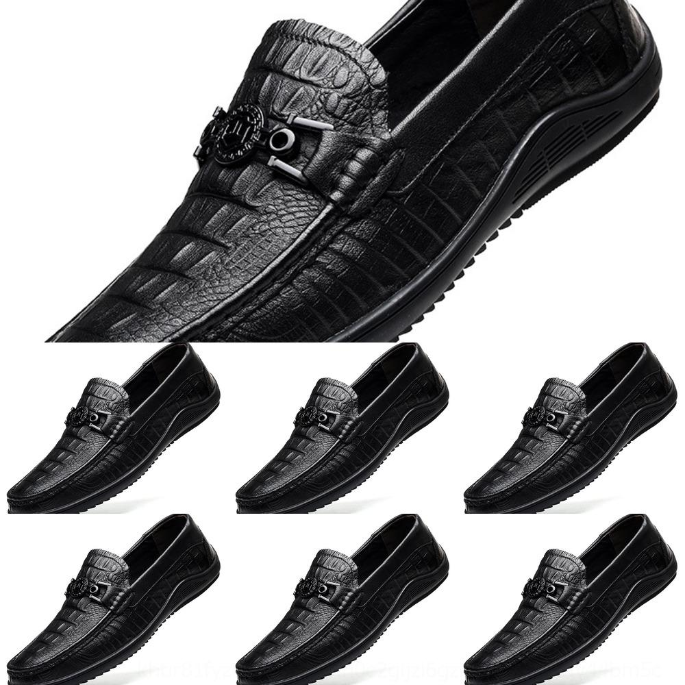 08dLp Autumn first layer leather pea men's crocodile design men's driving Pea shoesshoes fashionable cover feet one foot shoes 48 large