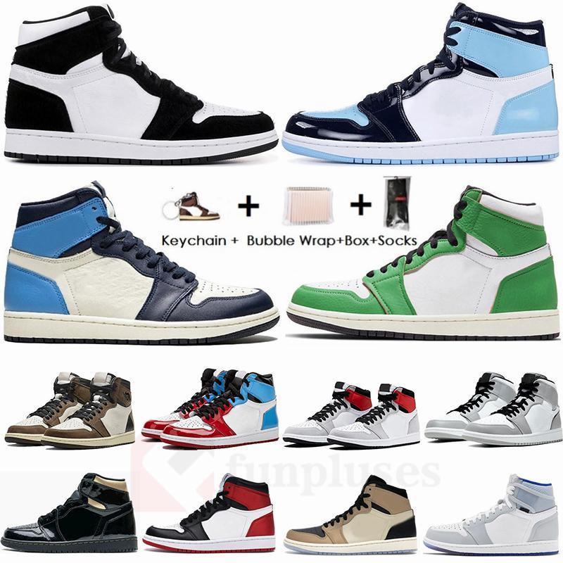 Nike Air Jordan Retro كبير حجم 13 مع صندوق 1 ترافيس سكوتس تكبير المتسابق UNC 1S أحذية الرجال لكرة السلة تويست حجر السج بلا خوف Jumpman المدربين مصمم الرياضة رياضة