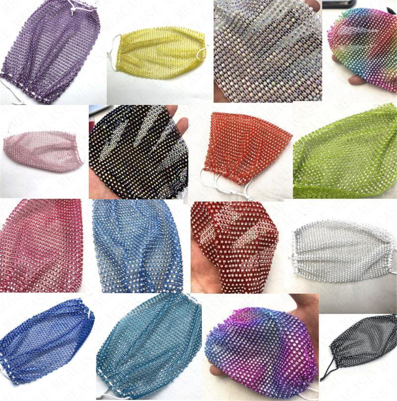 Diamant pêche Masques pas cher Net Mesh bling Shinny Glitter Lavable Réutiliser Masque Etoiles Cristal Protecti