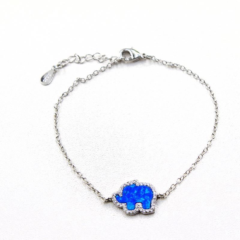 WALERV mode mignon Forme éléphant réel Bleu Charm Opal feu chaîne à main femmes Bracelets Banglee Chain Link