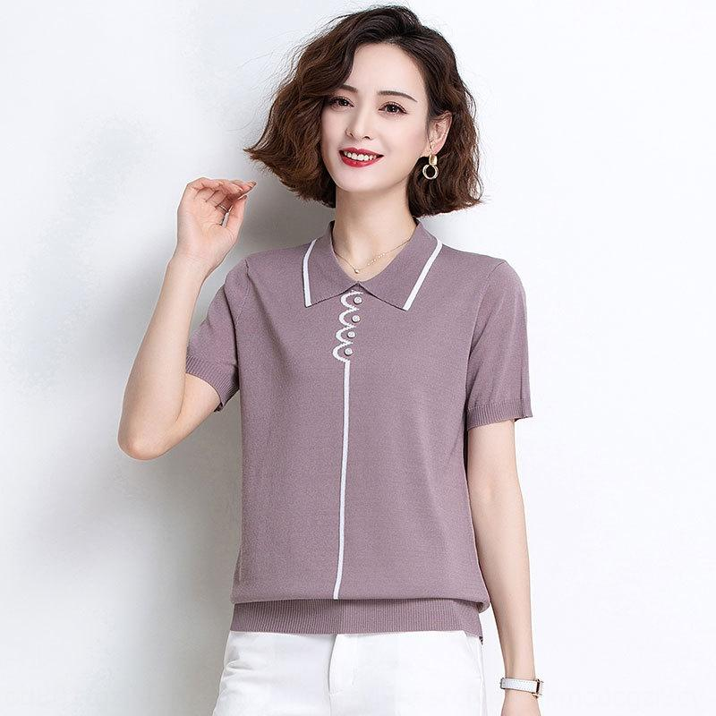 Short sleeve women Doll 2020 new middle-aged mother summer t-shirt t-shirt doll Lapel half sleeve ice silk sweater Wmgoo