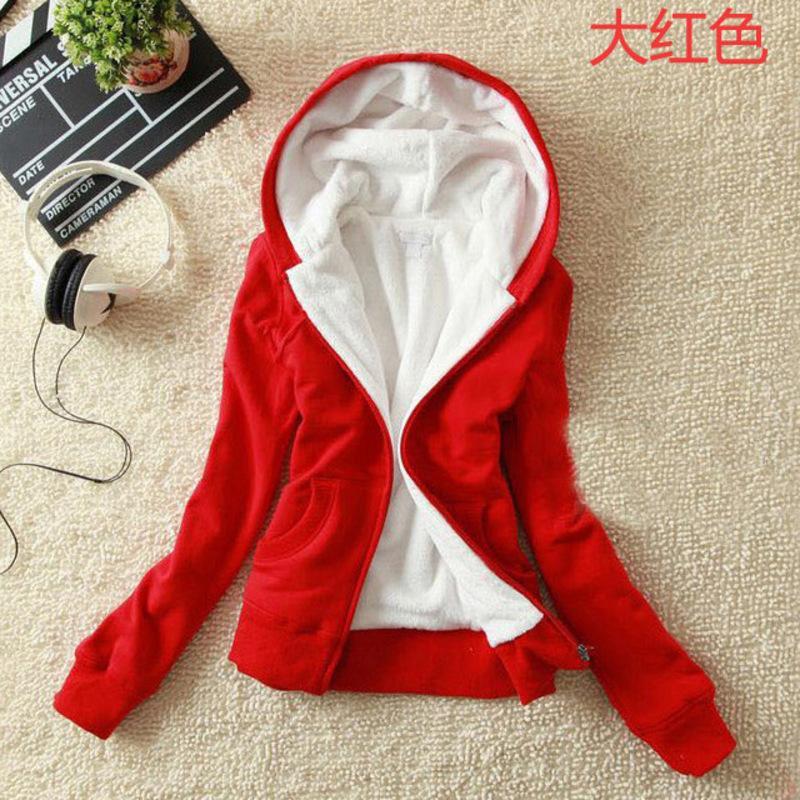 Primavera e l'autunno coreano stile felpa rossa con cappuccio Zipper caldo maglione donne