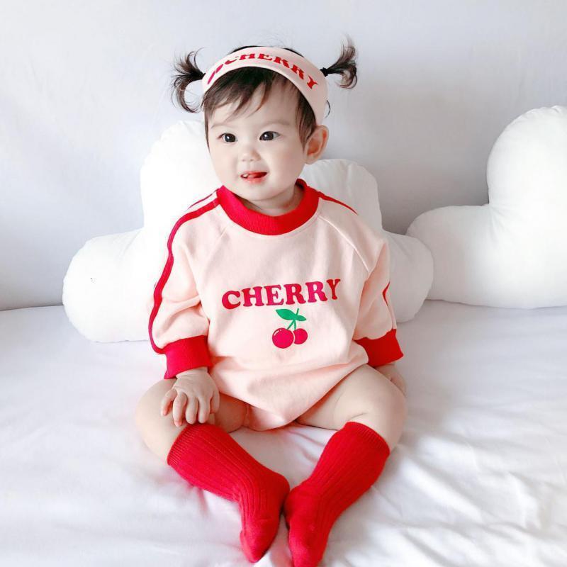 2021 Nouveau Joli nouveau-né Cherry Cerisier Jumpsuit à manches longues en coton à manches longues avec bandeau de la bande o-cou de bébé vêtements de bébé 0-24M MRDF