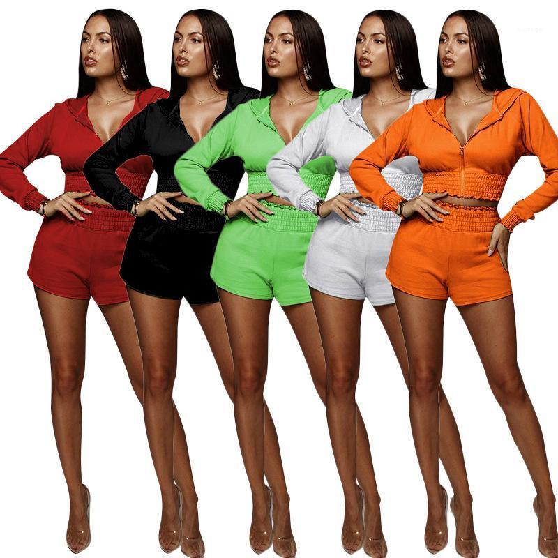 Giyim Seti Uzun Kollu Fermuar Ceket Şort 2 Adet Set Moda Casual Kadın Giyim Bayan 2 Parça