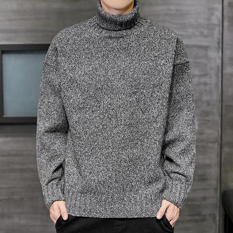 Sweater Men's Autumn Winter New Men's High Neck Simple Multicolor Sweater Warm Stretch Pullover High Neck