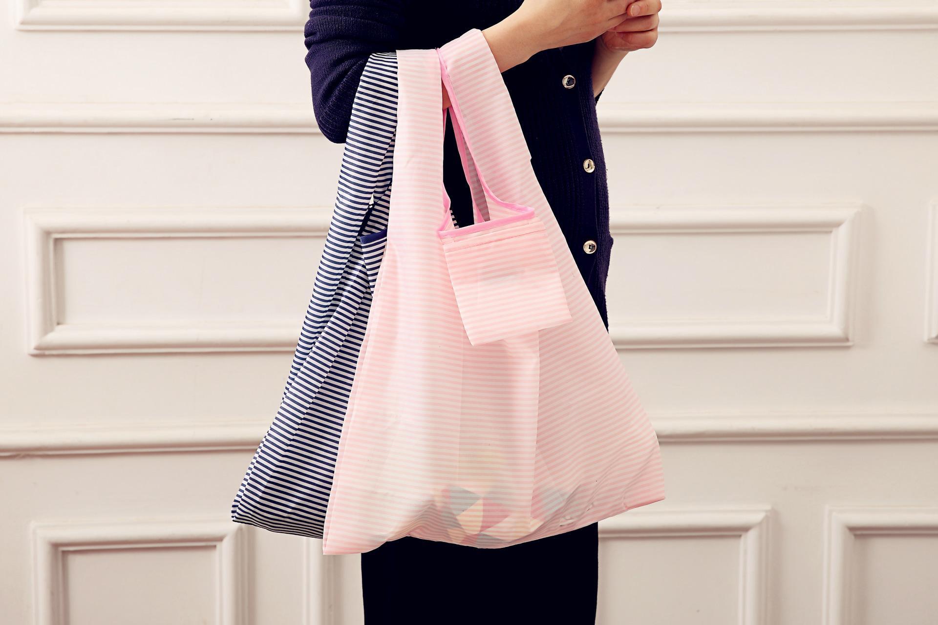 Portable Supermarket Folding Shopping Bag Household Nylon Storage Bag Handbag Folding Bag Gift Giveaway Printed LOGO