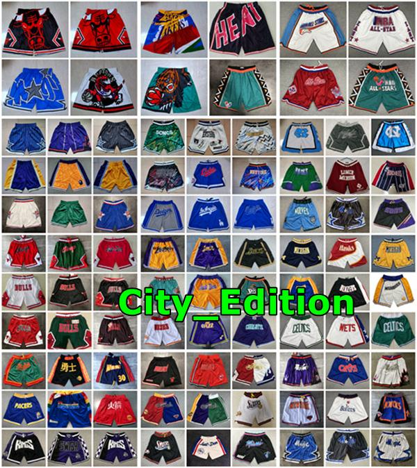 2020 Mens Retro Stitched Just Don Pocket Shorts Authentic Mitchell Ness Pocket Basketball Shorts Stitched All City Teams Name & Year Id Tags
