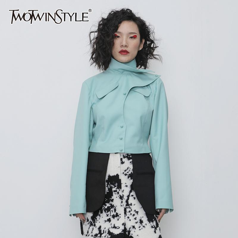 TWOTWINSTYLE Asymmetrische PU-Leder-Frauen-Jacke Turtleneck lange Hülsen-dünne unregelmäßige Mantel Female Fashion Frühling Kleidung 201013