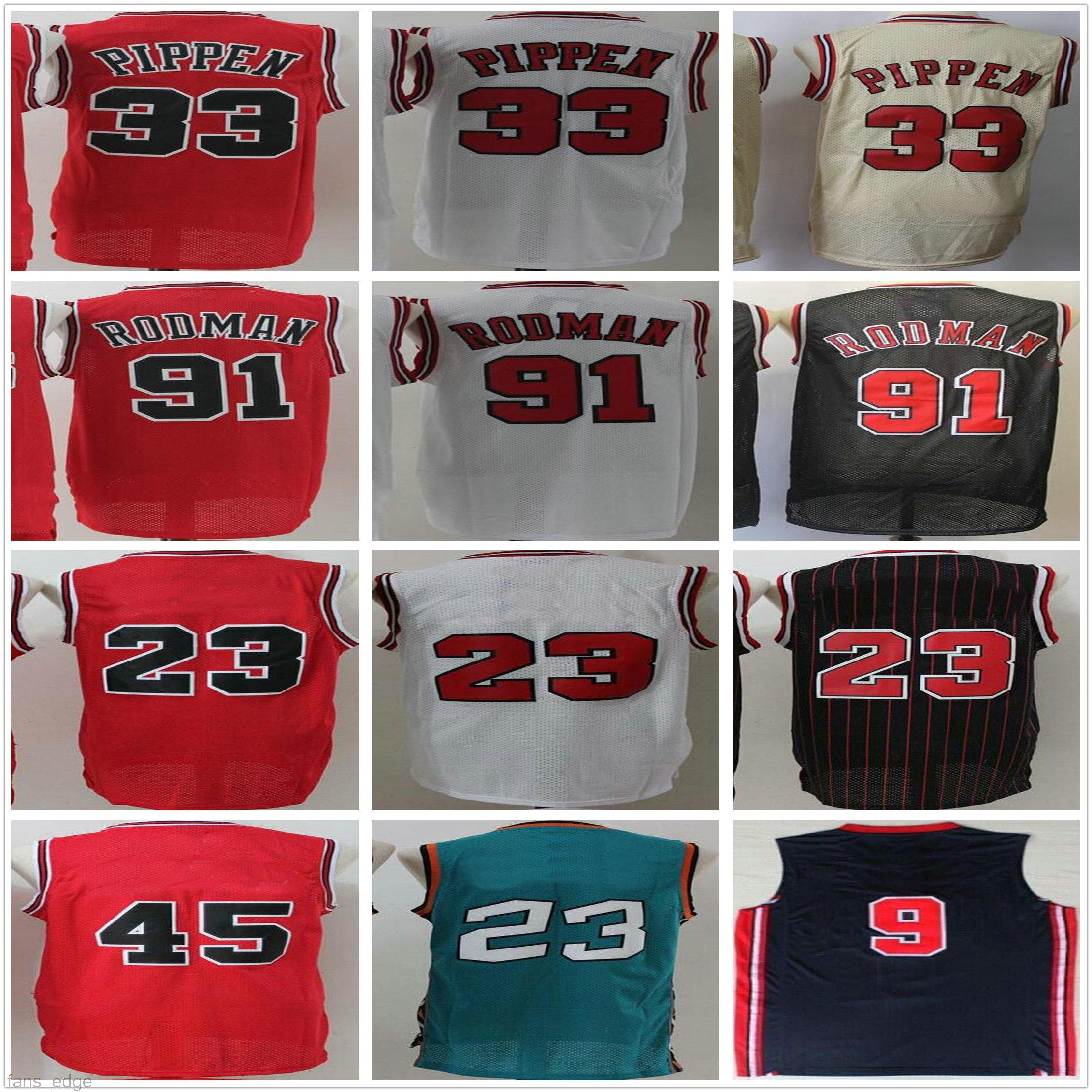 NCAA North Carolina رجل الرجعية خمر # 23 مع اسم جميع أنماط حمراء أبيض أسود رجل سكوت 33 بيبن دينيس 91 رودمان كرة السلة الفانيلة