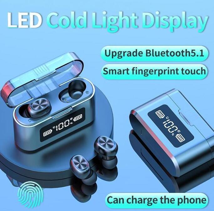 TWS Kablosuz Bluetooth Kulaklık LED Dijital Görüntü Stereo Spor Mikrofon ile Su geçirmez Kulaklık Dokunmatik Kontrol Kulaklık Kulaklık 279