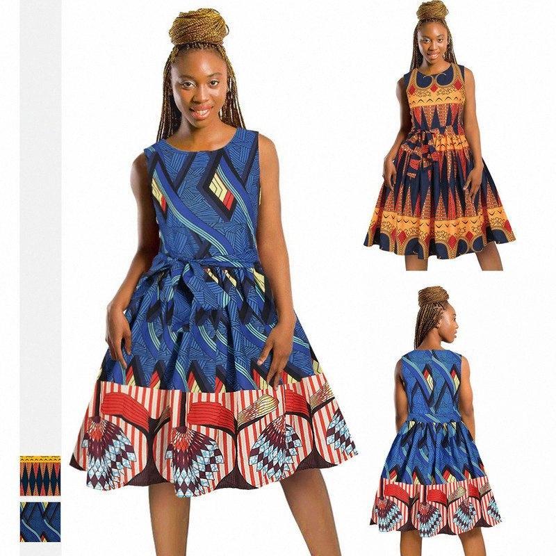 Moda feminina vestidos impressos digitais vestidos sem mangas mulheres com cintos África venda quente saias M233 #