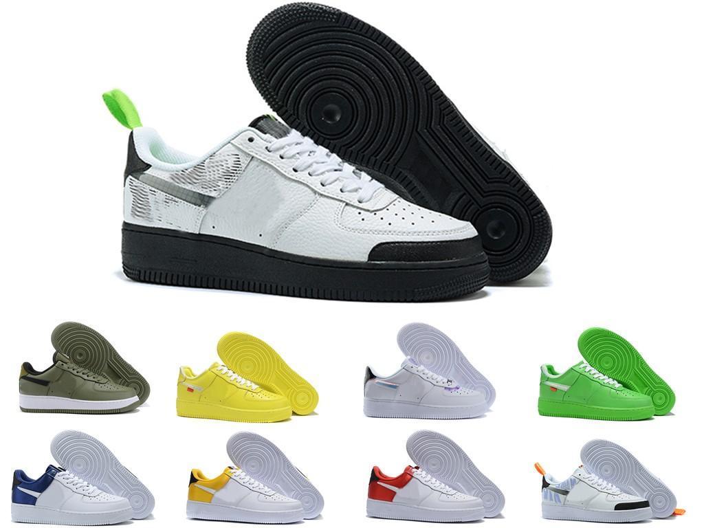 Erkekler kadın Yüksek Kalite Bir 1 Koşu Ayakkabı Düşük Kesim Tüm Beyaz Siyah Üç Erkekler Açık Sneaker Boyutları 36-45