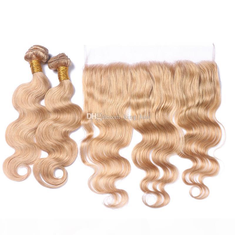 Yeni Geliş 27. Kulak Kulak Dantel Tam Dantel Frontal ile Saç Paketler Çilek Sarışın Vücut Dalga saç örgüleri ile dantel frontals için