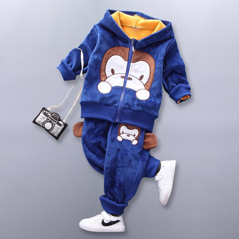 Baby-Kleidung Winter plus Samtverdickung Kinder warmen Anzug Cartoon-Dinosaurier Fuchs Bär mit Kapuze Strickjacke Babyklage 3pcs Y1105
