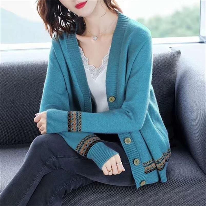 Herbst-Frauen-Strickjacke Elegante Damen Weinlese-Muster gestrickte Pullover Mode Langarm V-Ausschnitt Oberbekleidung Tops Mantel