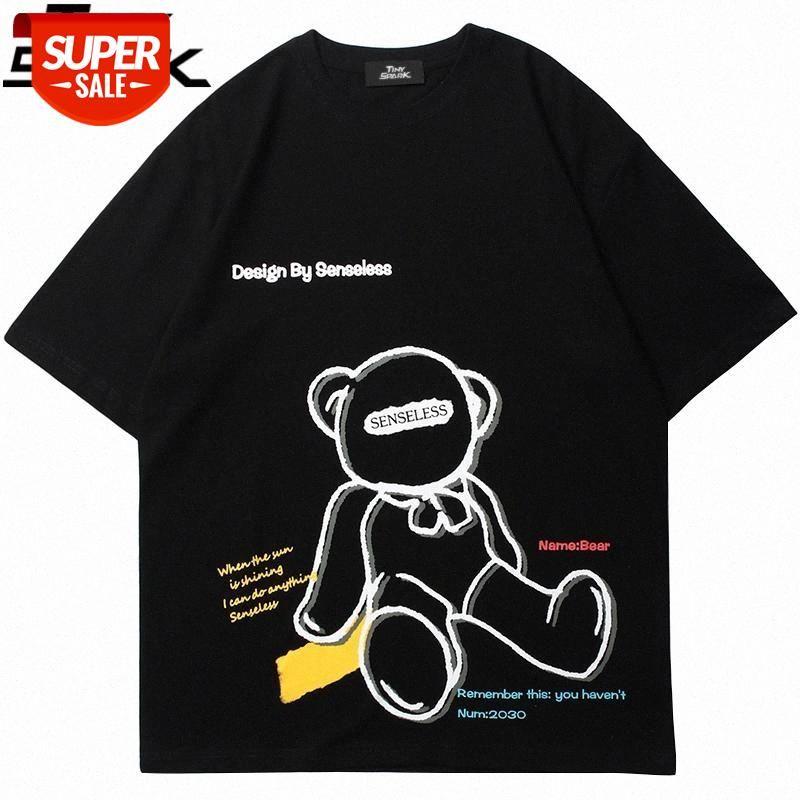 Hip Hop Streetwear HARAJUKU T-shirt Ayı Mektup Baskılı T Gömlek 2021 Erkekler Moda İlkbahar Yaz Kısa Kollu Tees Pamuk # ZQ3X Tops