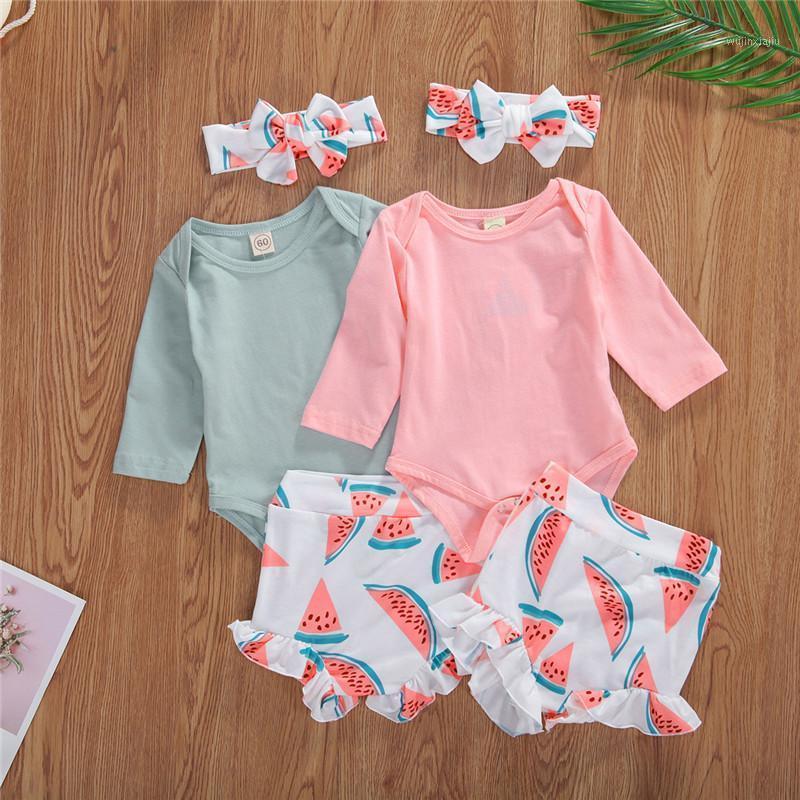 Kleidung Sets Mädchen Kleidung 0-24M Baby Body Set Kleinkind Infant Herbst Herbst Langarm Wassermelone Shorts Stirnband 3 stücke Outfits1
