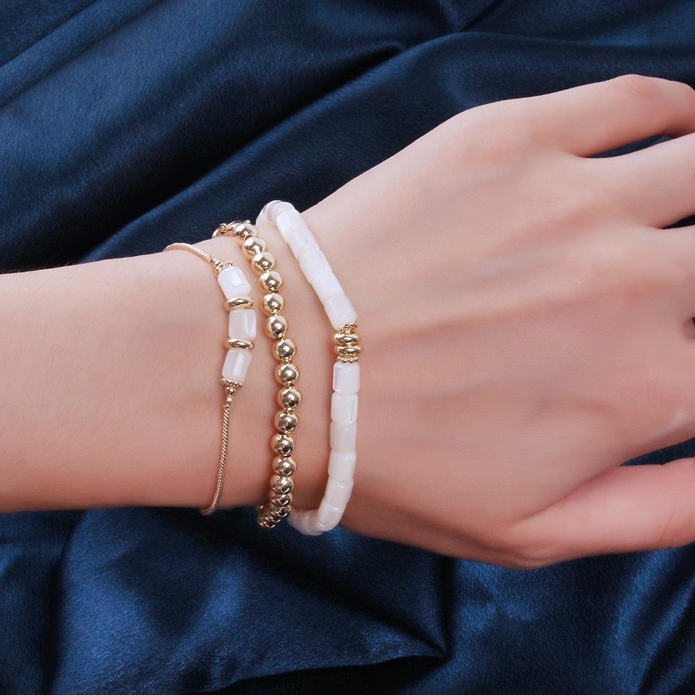 tKxum French lightshell cool stylenew simple temperamentthree piece ins French lightshell braceletcool stylenew simple temperamentthree piece