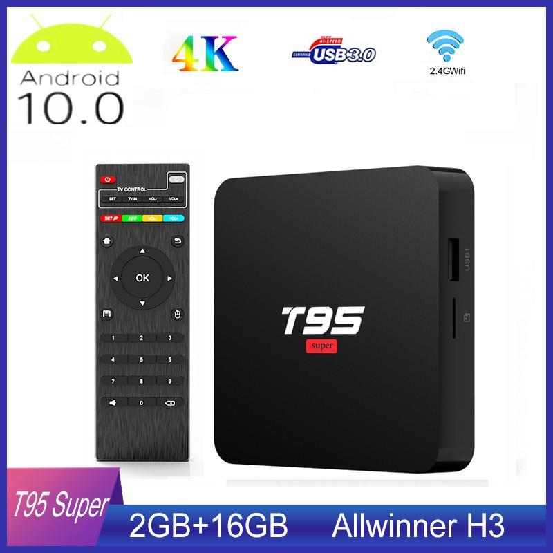 T95 Super Smart Android TV Box 10 Allwinner H3 GPU G31 2 Go de RAM DDR3 16 Go WiFi 2.4G HD OTT Media Player
