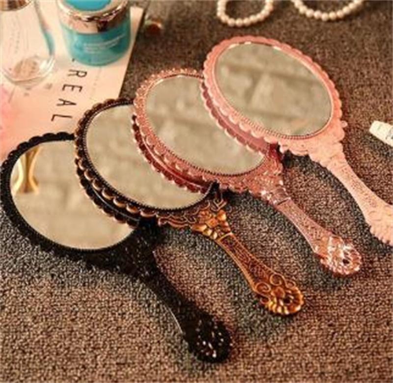 Ручная макияж зеркала романтические винтажные кружевные держатели овальные круглые косметический инструмент комод подарок 21 l2