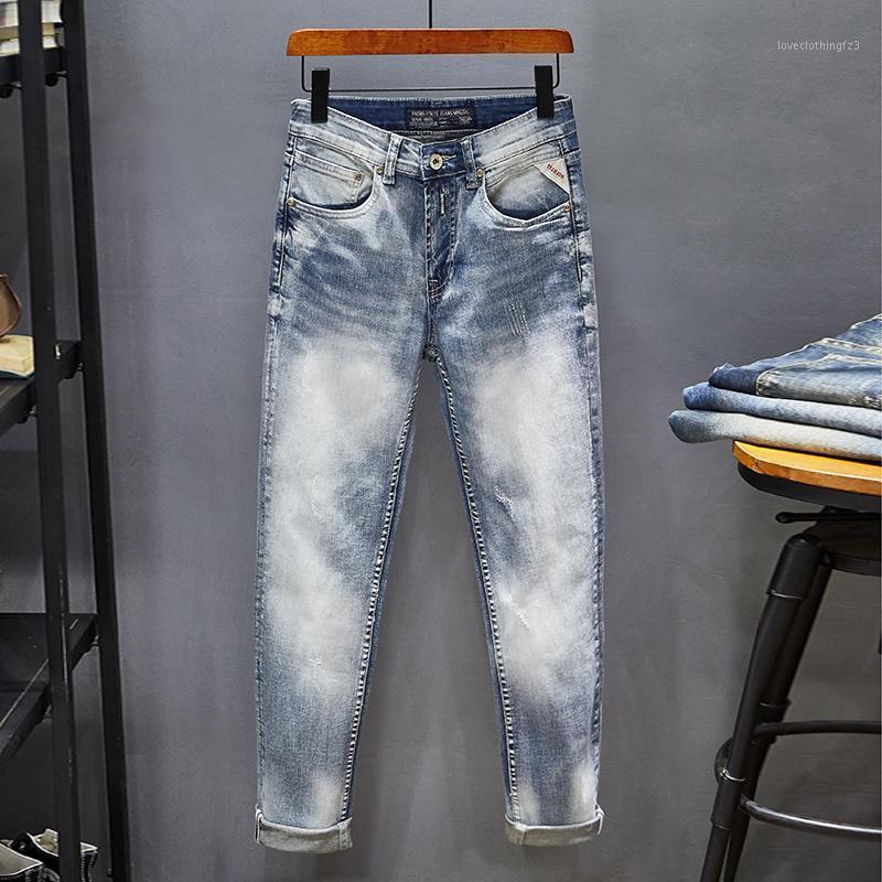 Мужские джинсы итальянские моды мужские высочайшее качество тонкий подходящий упругий разорвал светло-голубые джинсовые брюки уличные Урожай дизайнер 1
