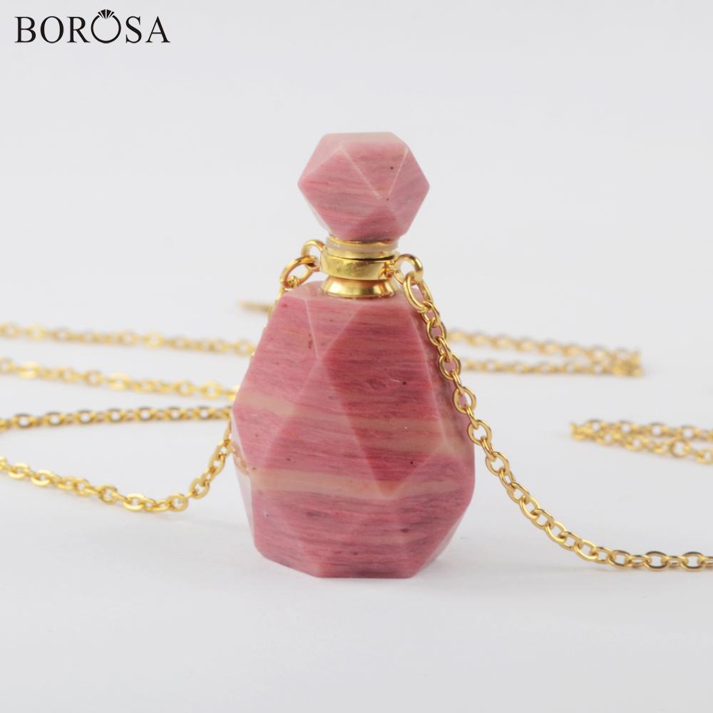 Rodocrosita Natural botella de aceite de perfume Collar chapado en oro de Gemas Piedras aceite esencial Conector colgante para las mujeres PB001-8 0927