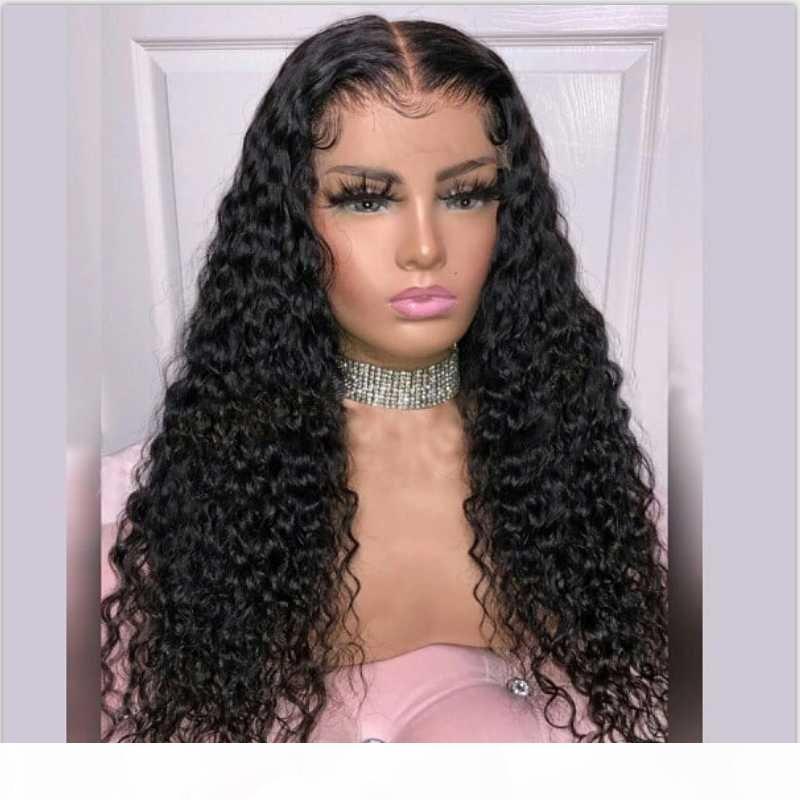 Longa curly 2x6 renda peruca brasileira remy dianteira peruca de cabelo humano para as mulheres 130% natural cor preta branqueada nós fechamento