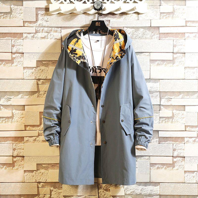 2020 Casual erkek Siyah Rüzgarlık Ceketler Uzun Trençkot İlkbahar Sonbahar Kış Giysileri için