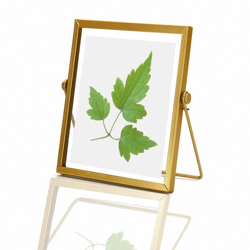 Altın Metal ve Cam Fotoğraf Çerçevesi Katlama Tel Masaüstü Resim Minimalist Ekran Pirinç Çerçeveler Örnekler Dekorasyon Süsleme IuqO #