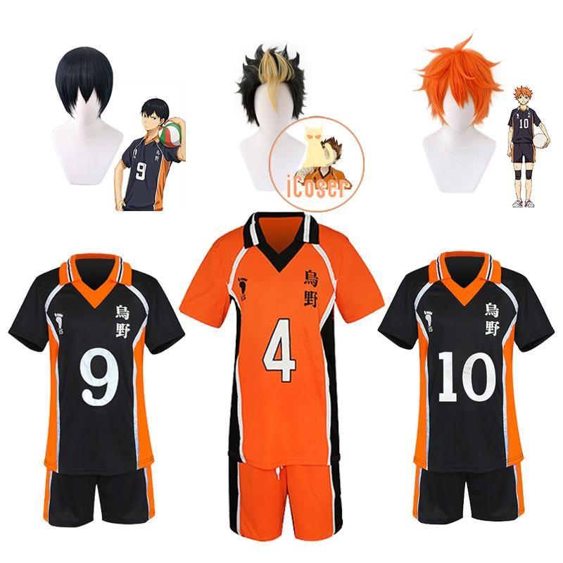 Anime Kostüme Haikyuu Karasuno Hohe Cosplay Jersey Tobio Kageyama Hinata Shyouyou Nishinoya Yuu Sportswear Uniform Carnival Kostüm Perücken
