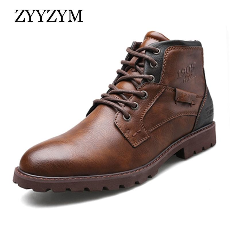 Zyyzym Мужские кожаные сапоги весна осень старинные стиль инструменты сапоги мужчины на молнии обувь мода повседневная обувь мужчины ботас гомбер lj201023
