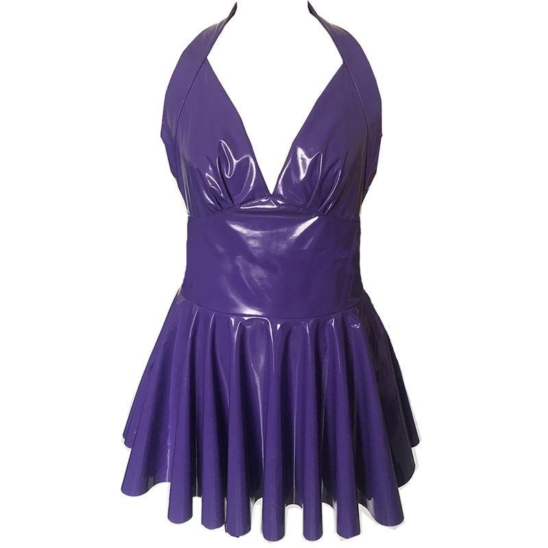 12 Renkler Kadınlar Backless V yaka Mini Elbise PVC Sahte Deri Halter A-line Pileli Elbise Seksi Islak bak Gece Kulübü Parti Vestido