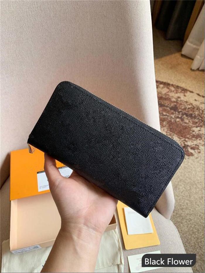 Großhandel Mode einziger Reißverschluss Männer Frauen Leder Brieftasche Dame Damen lange Geldbeutel mit Orange Box Karte Münze Kartenbeuteln