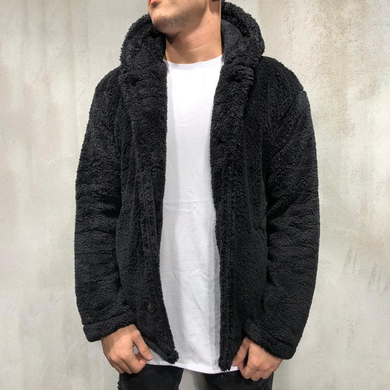 Fluffy Fleece Hoodies Chaqueta Furry Chaqueta Feléjese Hombre Chaqueta De Piel Suéter Moda Casual Cremallera Gruesa F Pelo Fleece Hooled Jacke Tops