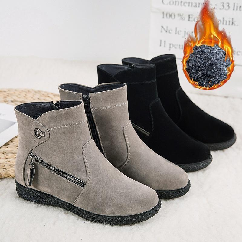 Winter Womens Shoes Womens Boots Suede Zapatos De Mujer Rubber Botas Mujer Zipper Flock Snow Boots Flat Shoes Cuissarde Femme1