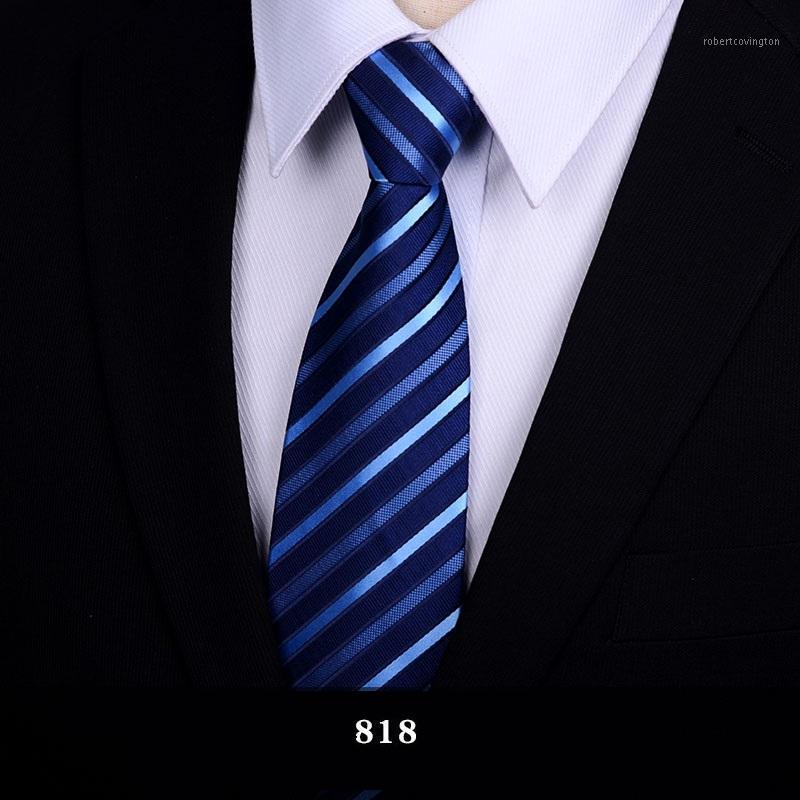 2020 дизайнер Новая мода 8см связи для мужчин полосатые шелковые галстуки свадебный жених формальные аксессуары с подарочной коробкой1