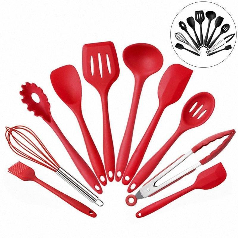 HOT 10pcs/Set Silicone Kitchen Utensils Set Kitchen Not Sticky Pot Heat Resistant Spoon Shovel Ladle Spatula Cooking Tool Free shipping