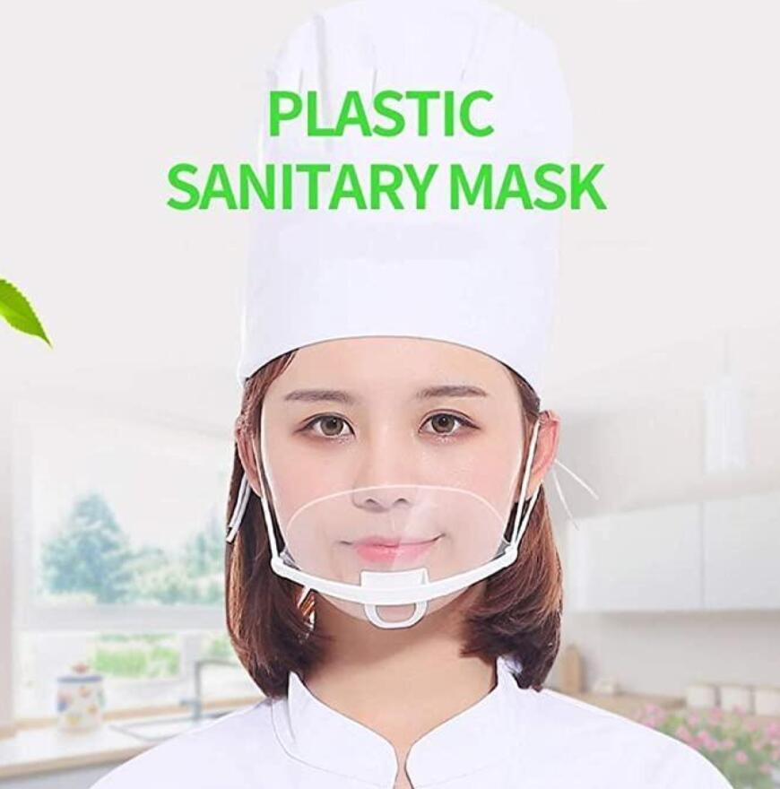 50 adet Profesyonel Şeffaf Sıhhi Kapak Maskeler Daimi Karşıtı Sis Catering Gıda Otel Plastik Mutfak Restoran Maskeleri FY8086