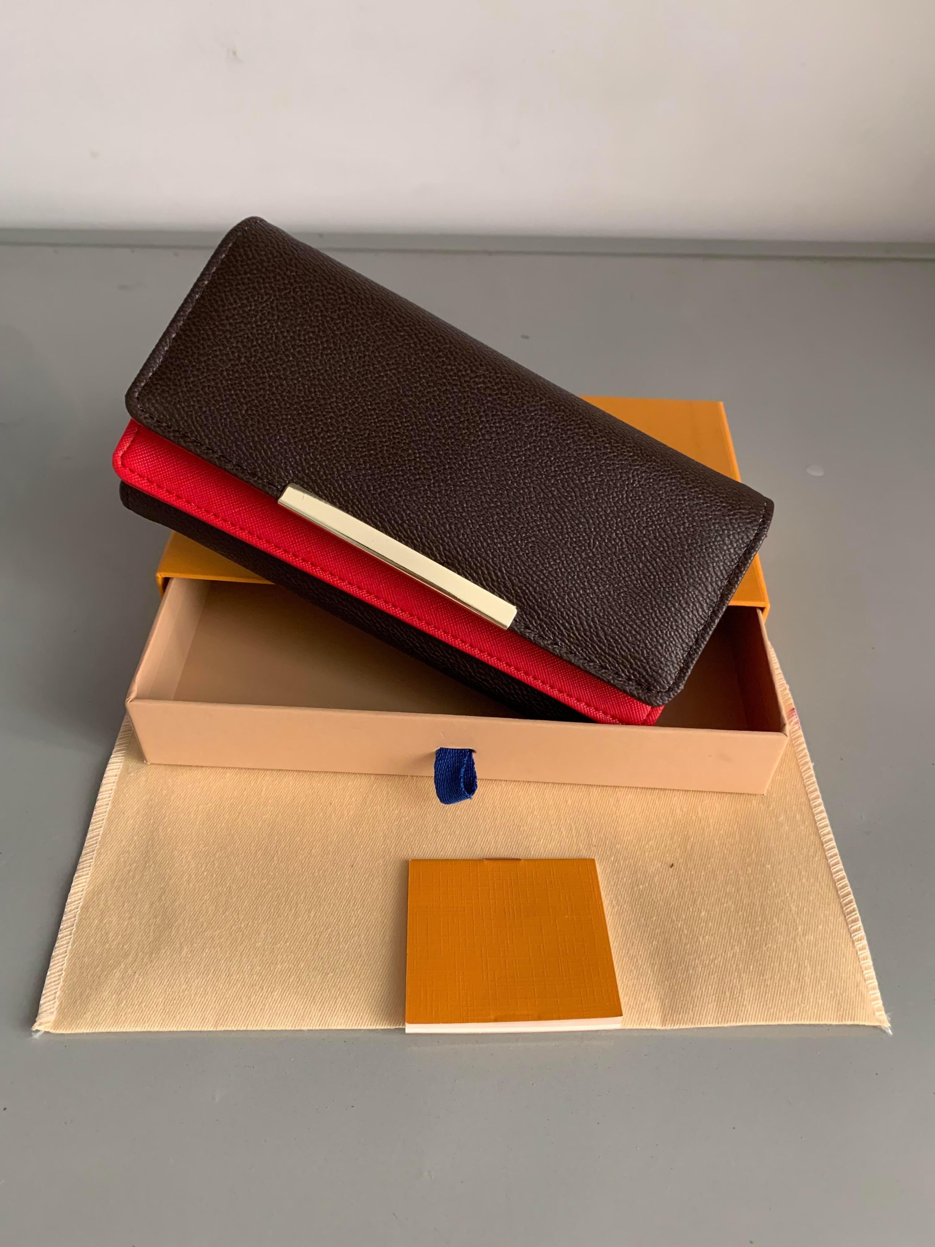 Бесплатная доставка! Коробка 2021 Сцепление Подлинная мода с дизайнерским кожаным бумажником Нет сумки UBJWO