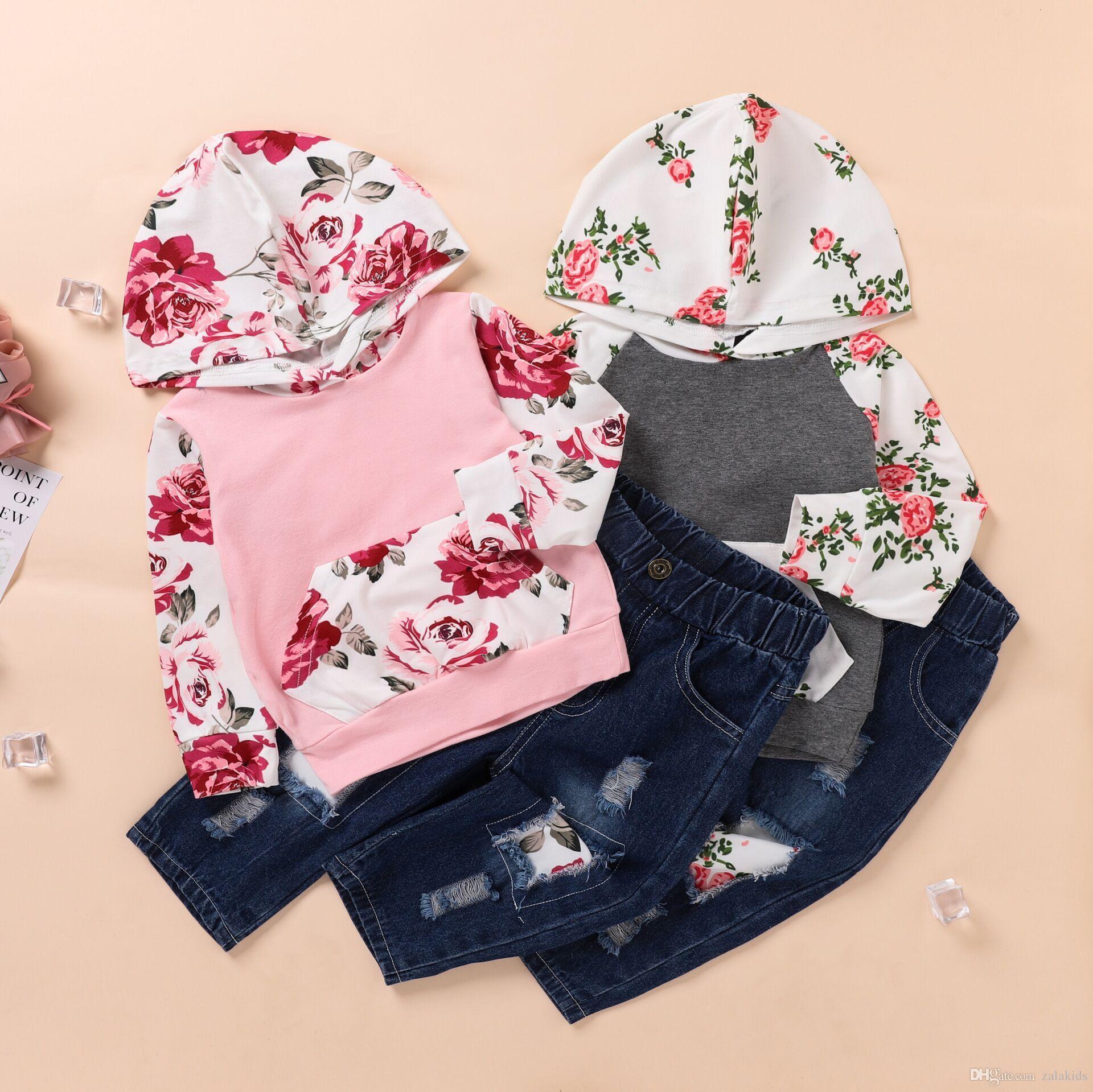 Bebek Çocuk Giyim uzun Kol Kapüşonlular + kırık delikli kot pantolon yırtık 2PCS Kıyafetler Set Kız kız Çiçekler Casual ayarlar