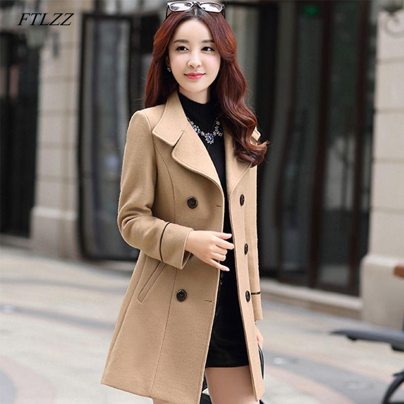 Ftlzz Kadınlar Yün Sıcak Uzun Ceket Sonbahar Kış Artı boyutu Kadın Slim Fit Yaka Yün Palto Kaşmir Dış Giyim C1111