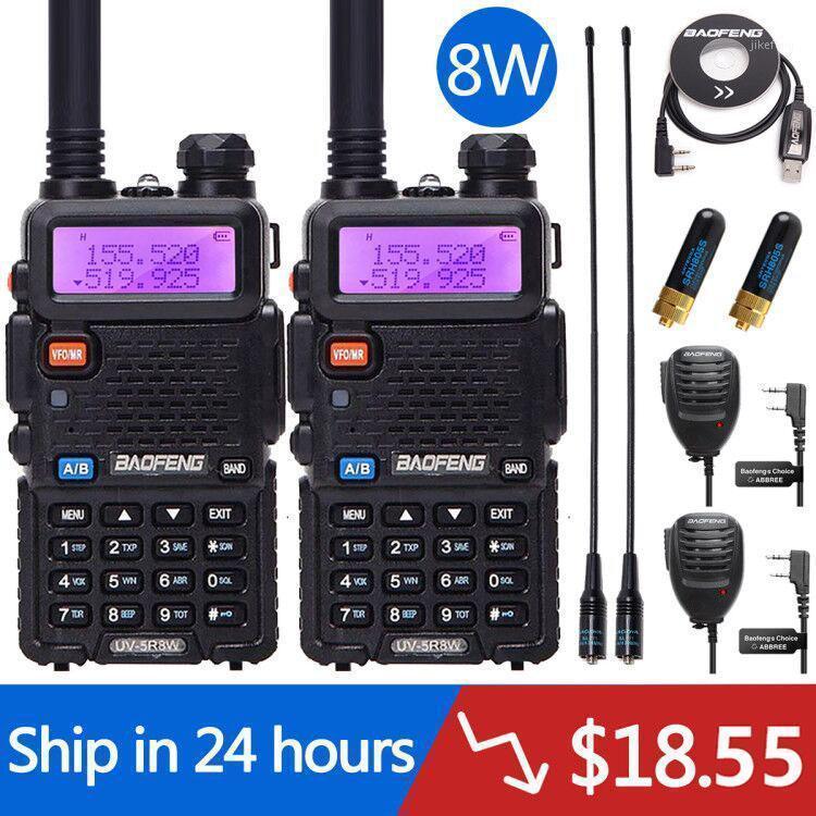 2 adet Baofeng UV-5R 8 W Yüksek Güçlü 10 KM VHF / UHF Uzun Menzilli İki Yönlü Radyo Walkie Talkie Portatif Radyo Pofung UV5R Avcılık için1