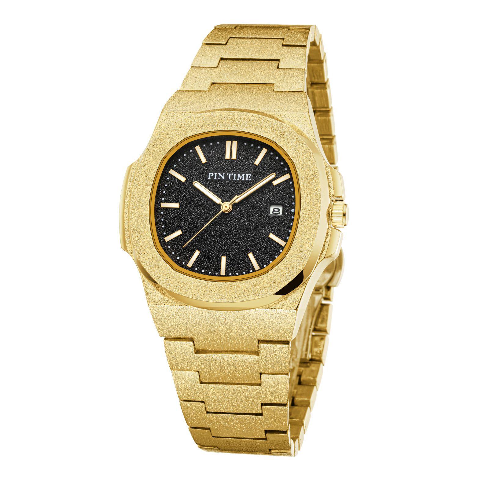Reloj de Pulsera Para Hombre، Acero de Lujo، Dorado، Fecha، Reloj diamante، Masculino