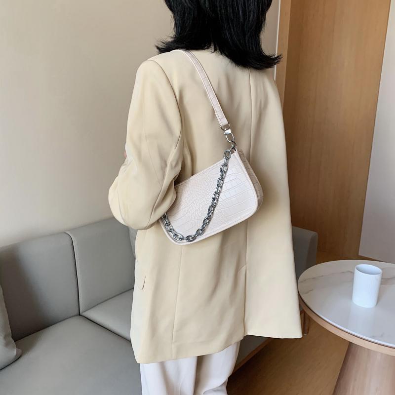 Pequeñas bolsas 2021 Cadena de cuero Cocodrilo Bolsa de axila Hombro Diseño de PU Mujeres Sólido Lujo para Color Crossbody Handbags Vgres