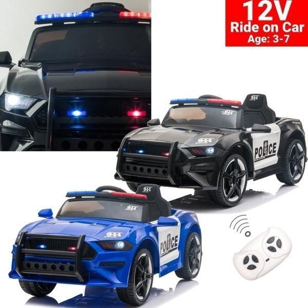 12 В Детские езды на автомобиле Детская электрическая игрушечная полицейская машина с двойным приводом 3 скорости с дистанционным управлением и светодиодными огнями 2 цвета