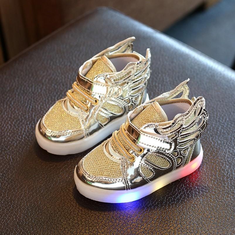 어린이 BoyGirl 발광 스니커즈 빛나는 C1002의 경우 유아 유아 윙 주도 슬리퍼 주도 천사의 날개 신발 키즈 라이트 업 슈즈