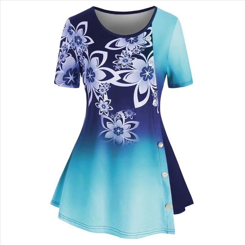 mujer túnica mujeres más tamaño botón gradiente botón impresión casual o cuello manga corta tops floral para mujeres